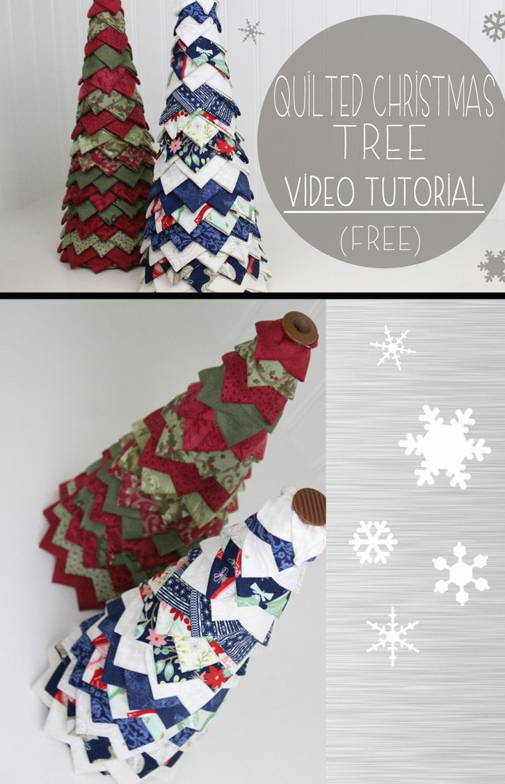 No sew Quilted Christmas Tree, easy beginner craft, DIY Christmas Decor