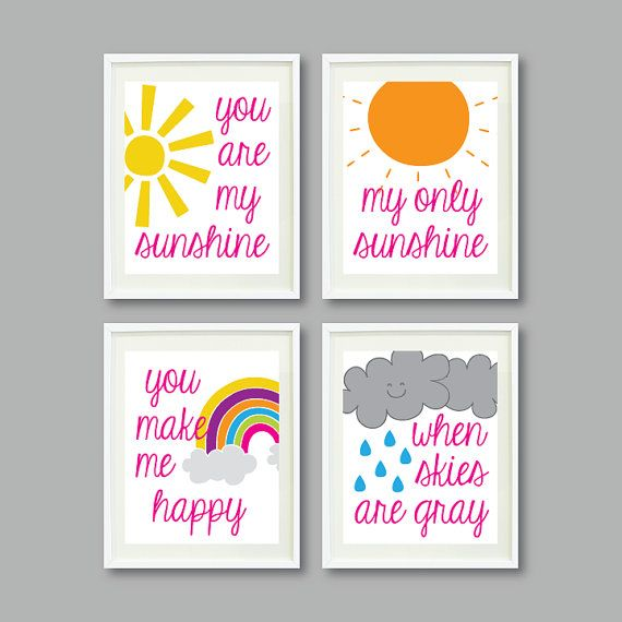 You Are My Sunshine - Set of Four Prints for Kids Room, Nursery, Home Decor-8x10-Rainbow/Sun/Clouds-Yellow-Hot Pink-Orange-Aqua-Green-Purple...