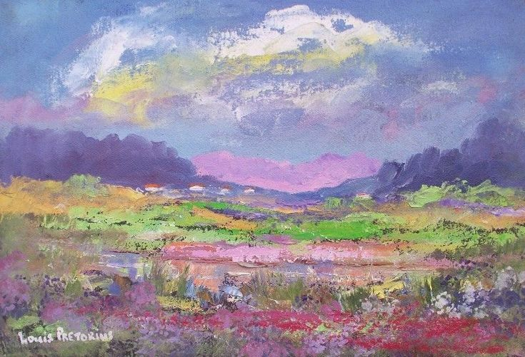 VALLEY OF BEAUTY (oil on stretched canvas: 370mm x 250mm x 20mm)Impressionism Landscape  Oil  R780.00SHIPPING IN RSA: R85.00