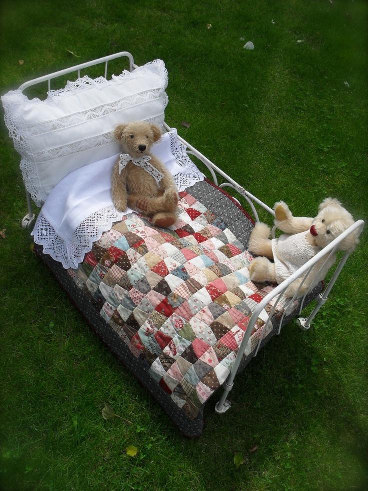 Dolls house idea - love the little patchwork blanket