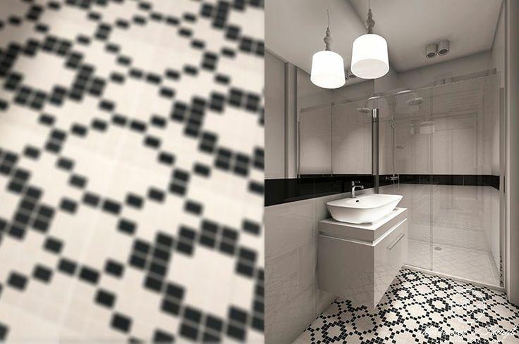 Black and white, elegant bathroom with mosaic tile by Kolodziej & Szmyt
