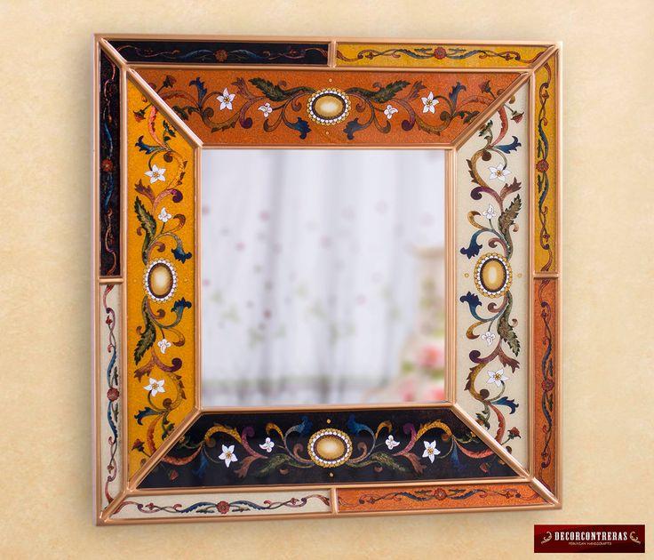 Espejo Decorativo Concavo Pintado a mano en el reverso del vidrio- Espejo Cuadrado marco plata - Decoracion con espejos -Artesania Peruana by DECORCONTRERAS on Etsy