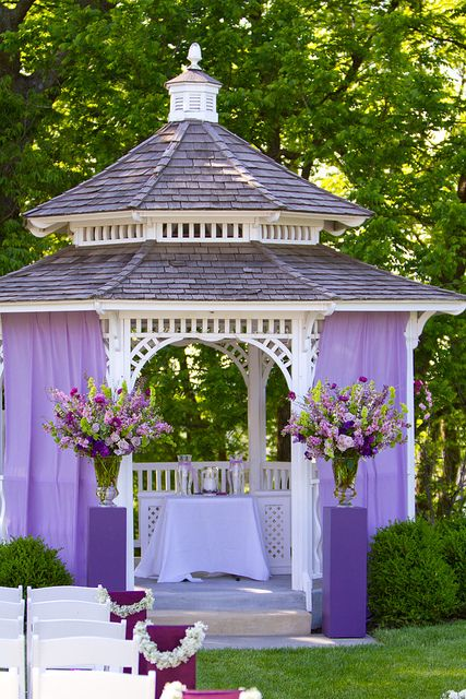 gazebo alter for a purple theme wedding ceremony design by blue