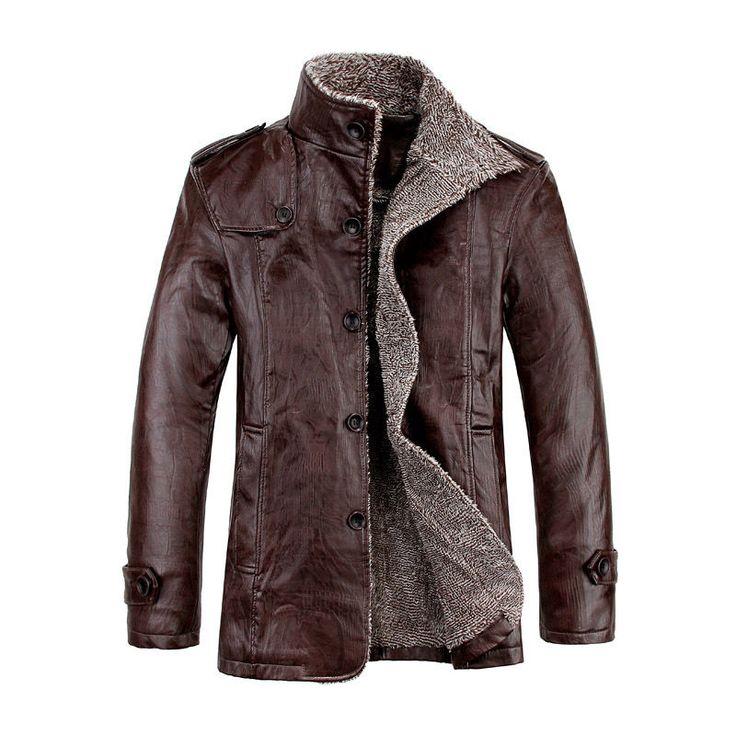 Fashion Men's Warm Winter Jacket Leather Coat Fur Parka Fleece Jacket Slim Coat