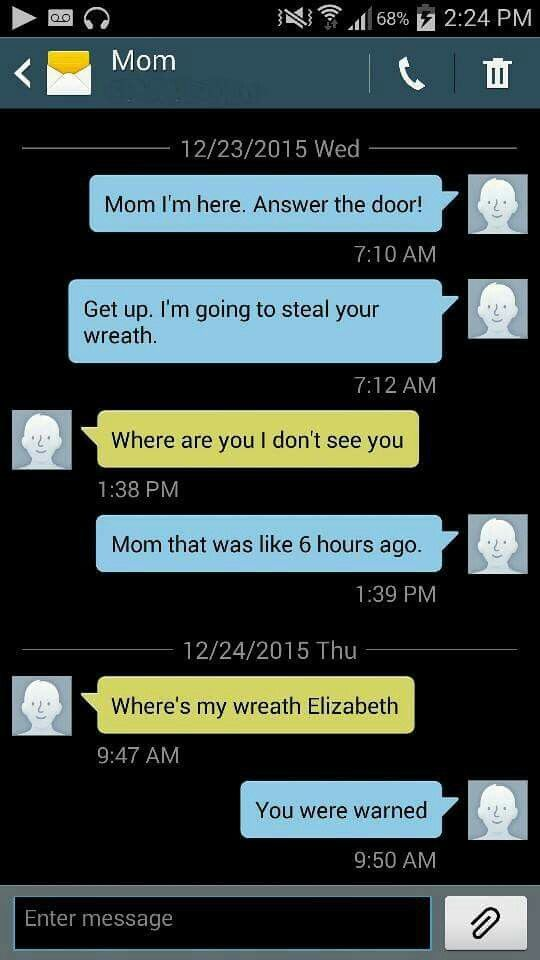 Hilarious text Funny mom text Elizabeth