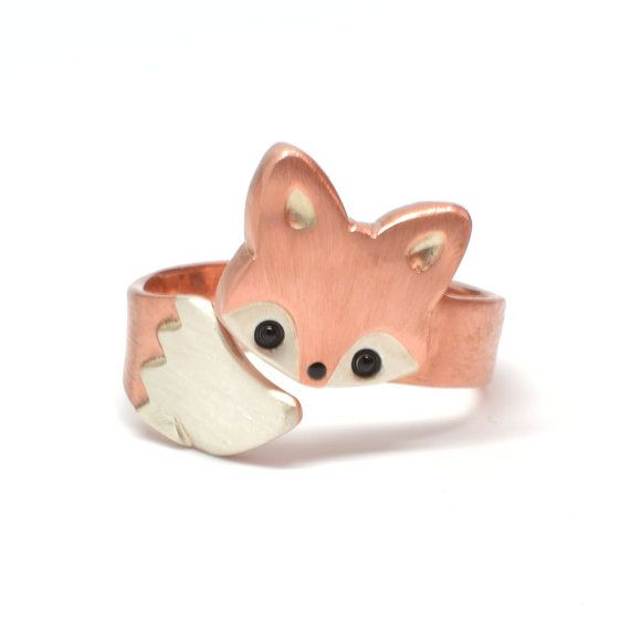***Production Time***  This ring is handmade to order and takes about 1-2 week s to complete.      Let this cute and cuddly little baby fox snuggle
