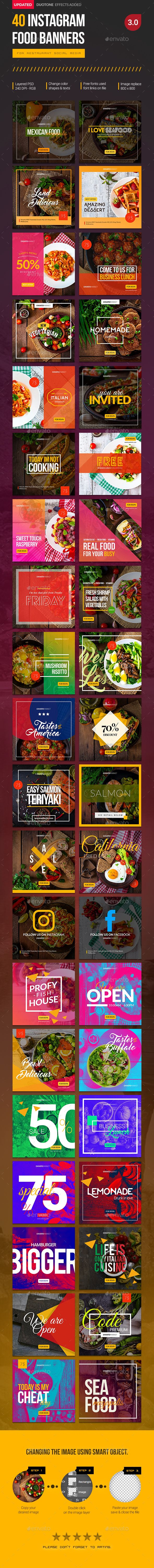 Instagram food banners for restaurant pages. Can be used for various food…