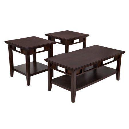 Flash Furniture Signature Design by Ashley Logan 3 Piece Occasional Table Set Dark Brown