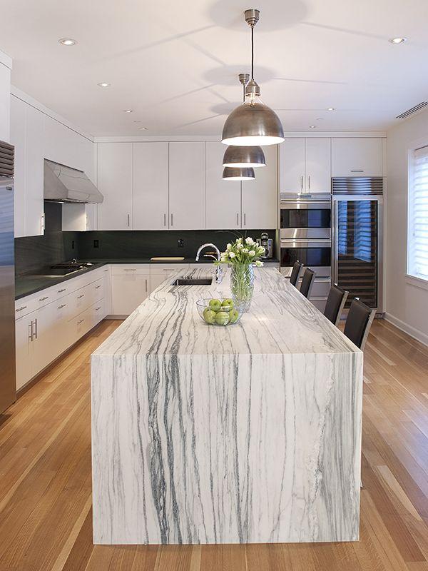 best 25 waterfall countertop ideas on pinterest waterfall island marble island and kitchen island granite waterfall - Stone Slab Kitchen Decor