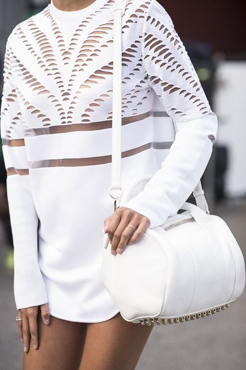 This Alexander Wang White with our Black Mesh Dress from www.troismenage.com