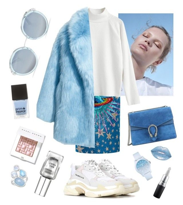 """""""Blue Madonna"""" by lemptiness ❤ liked on Polyvore featuring Gucci, Jakke, Prada, Balenciaga, Lime Crime, Lacoste and Bobbi Brown Cosmetics"""