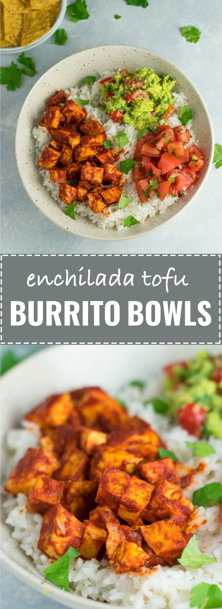 Easy enchilada tofu burrito bowls recipe with homemade guacamole and salsa. A delicious meatless vegan dinner recipe for mexican night. #vegan #burritobowls #tofuburritobowls