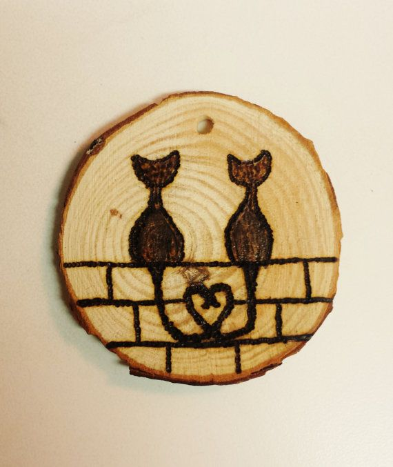 Love Cats Wood Slice by MoonbeamsMuchness on Etsy                                                                                                                                                                                 More