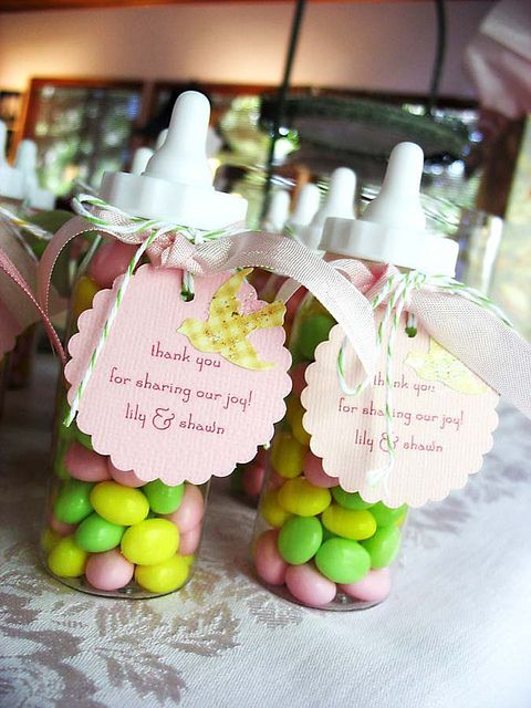 baby shower favor idea!  Btw I have a punch that does these and one that does circles