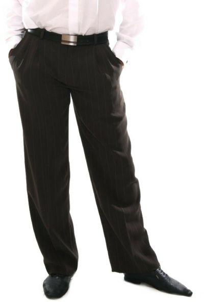 Men's brown tango pants with regular white stripes  #tangopants #menstangopants #menstangoclothes #argentinetango