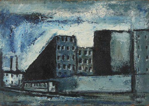 SIRONI MARIO (Sassari 1885-Milano 1961)  Periferia (1948)  Olio su tela, 30x42,5