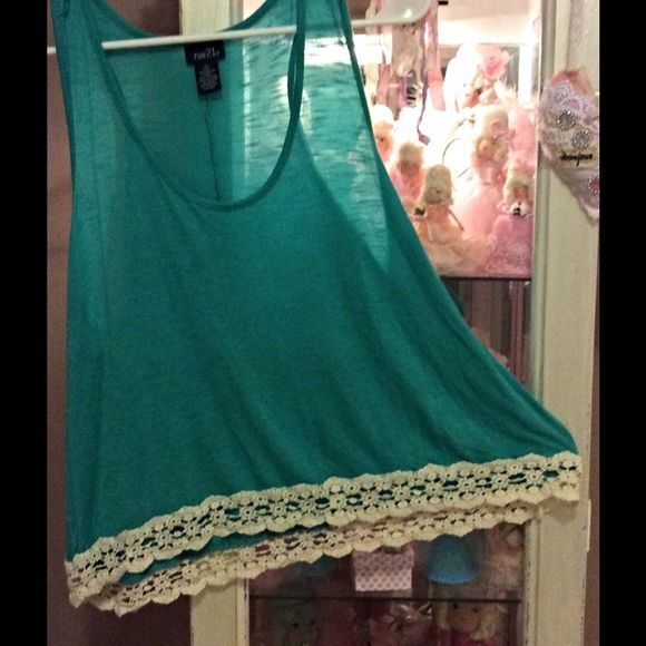 Rue 21 top Really cute rue 21 top with lace trim like new never worn Rue 21 Tops Tank Tops