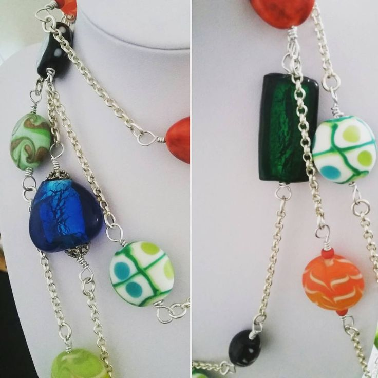 Mixed bag of tricks. Very long #beaded #chain with mixed #beads and #stones