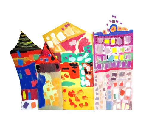 по мотивам Хундертвассера  #artstudio #hundertwasser #ka-var-dak #kavardak #paint with kids #children's creativity #@art with kids #children's art #art #Hundertwasser