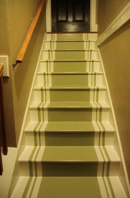 Painting a stair runner via Shannon Berrey design blog. Think this is a lovely idea and plan on doing this to our unfinished basement stairs until I can afford to finish the basement ;o)