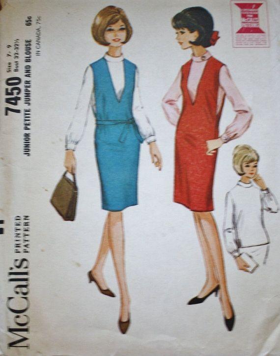 jaren 1960 trui / Pullover Top /McCalls 7450 Vintage naaien patroon /Bust 32-32,5 / JUNIOR PETITE
