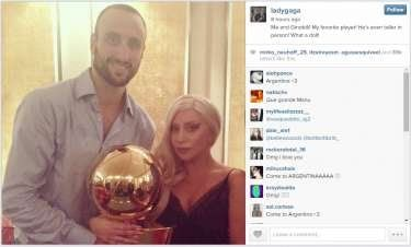 Lady Gaga hangs out with 'favorite player' Manu Ginobili and 'gentleman' Tony Parker at Spurs game