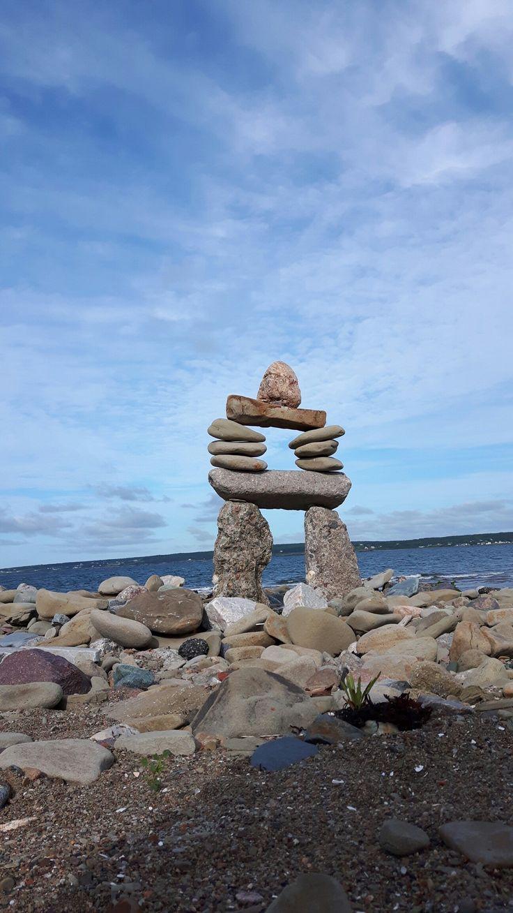 Inukshuk. Indian beach Nova Scotia