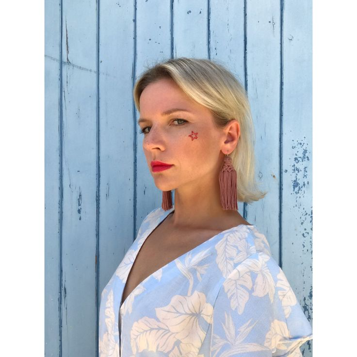 Blue mood, red lips, star make-up, blue playsuit