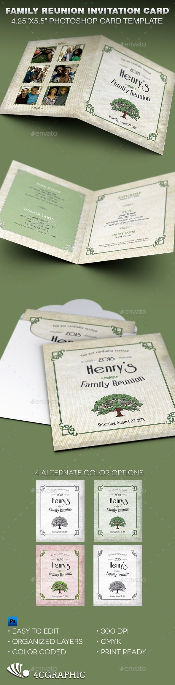 Family Reunion Invitation Card Template - Cards & Invites Print Templates