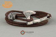 Silver Plated Axe and Skull Bracelet Wristband With by PAKASTORE
