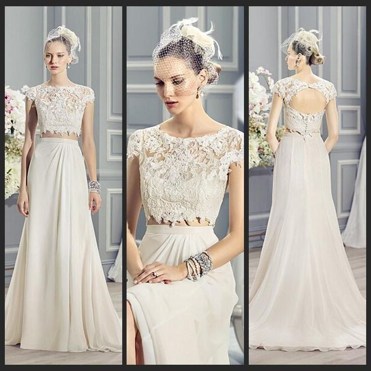 2015 New Two Pieces Summer Wedding Dresses Chiffon Lace Tank With Sleeves  Keyhole Back A Line Wedding Dress Beach Wedding Dresses FX03