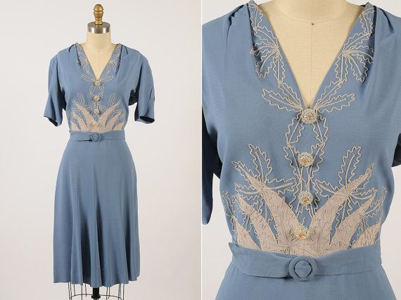 1940s dress/ 40s embroidered rayon dress/ medium