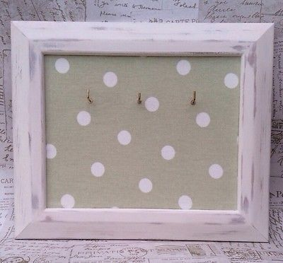 Refurbished Shabby Chic Cream/Green Wooden Frame Key Holder/Key Hooks