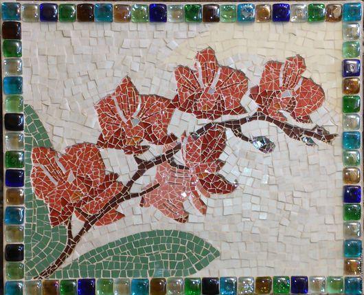 """Панно """"Орхидея"""", сделанное из керамики и мозаики в мозаичной технике. В раме из стеклянных камней. С удовольствием сделаю аналог на заказ, точное повторение невозможно. В реальности выглядит намного красивее, чем на фото. Мозаика - это великолепное украшение Вашего дома и прекрасный подарок на любой случай! Материалы:керамика, мозаика. Размер: 50(ш), 40(в)см."""