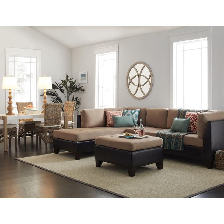Abbyson Charlotte Beige Sectional Sofa And Ottoman | Overstock.com Shopping    The Best Deals Part 68