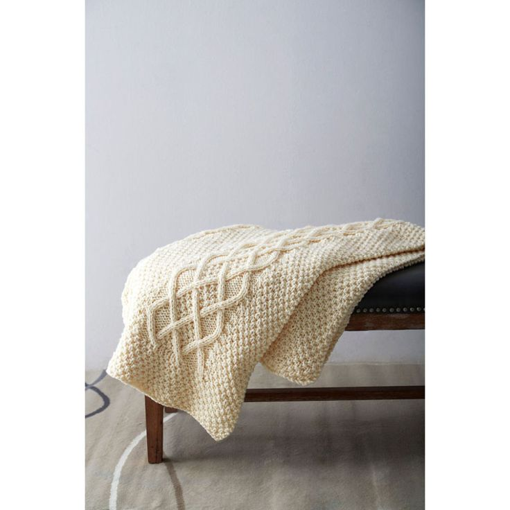 Knitting Blanket Moss Stitch : Free knitting pattern for Classic Cables Knit Blanket throw afghan using moss...