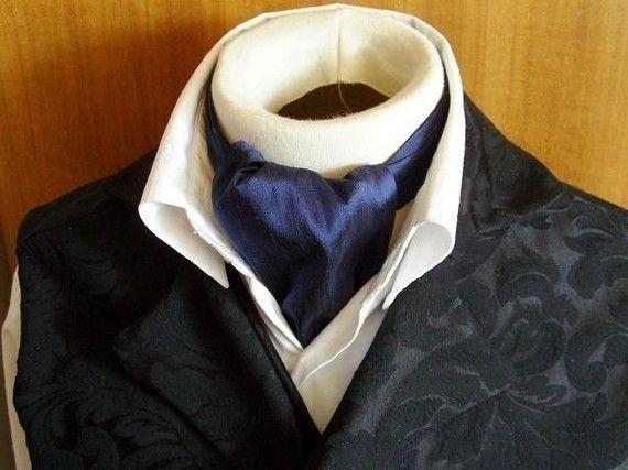 DAY Cravat Victorian Ascot Tie Cravat  Navy Blue by elegantascot, $22.00
