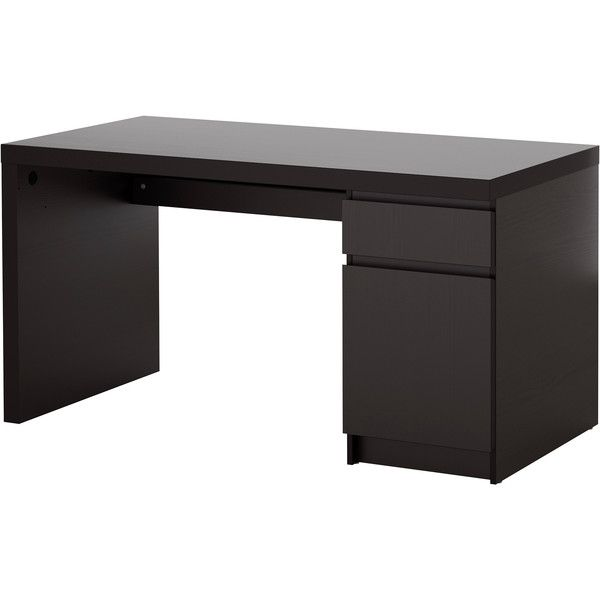 IKEA MALM Desk, black-brown (190 CAD) ❤ liked on Polyvore featuring home, furniture, desks, desk, bedroom, interior design, black brown desk, table top shelf, table top desk and black desk