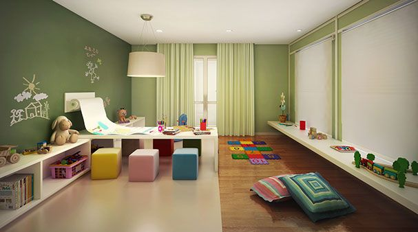 Brinquedoteca ampla e decorada com cores claras - Start Vila Mascote