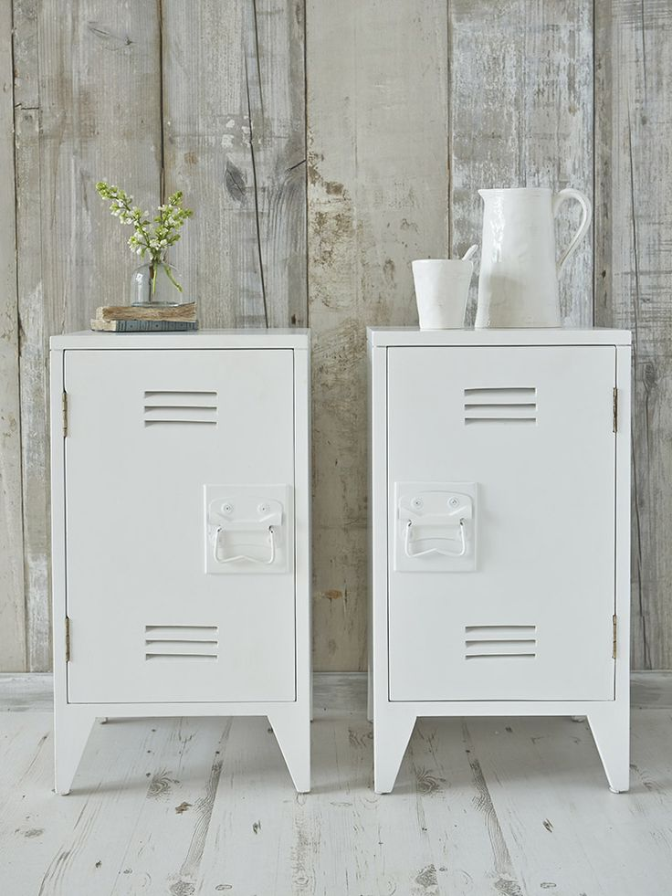 Pair of industrial bedside cabinets in white, Nordic House