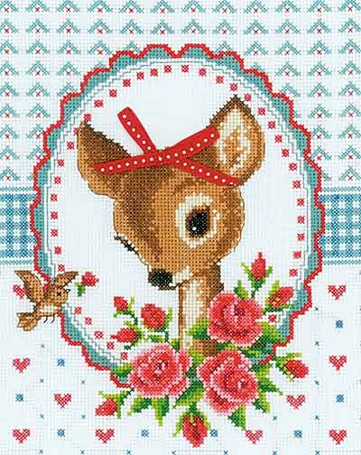 Bambi and Roses Cross Stitch Kit by Vervaco