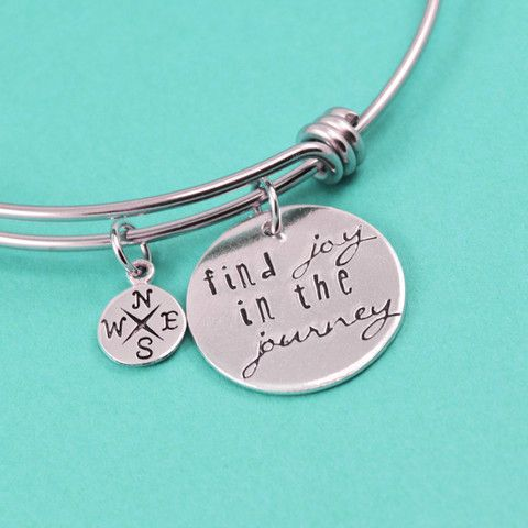 Find Joy in the Journey Adjustable Bangle Bracelet – Silver Statements
