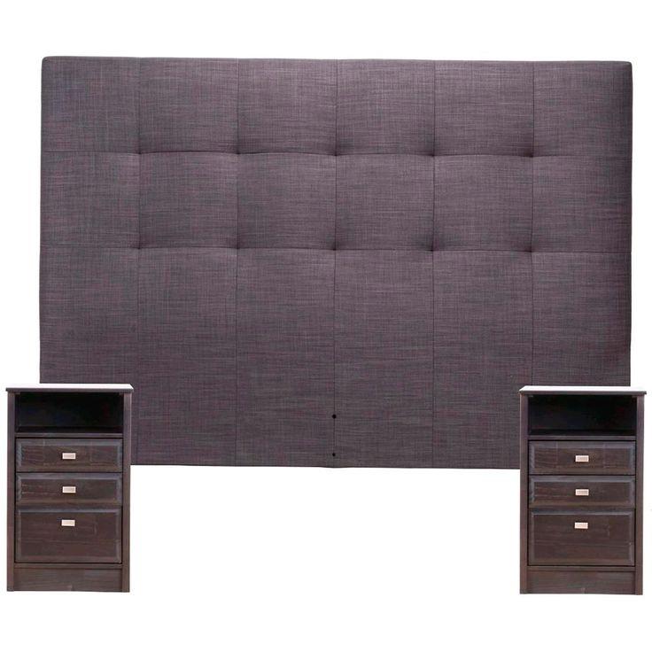 La Polar - Respaldo King Rosen Spurr Gris + 2 Veladores, Muebles, Muebles de Dormitorio, Respaldos y Veladores