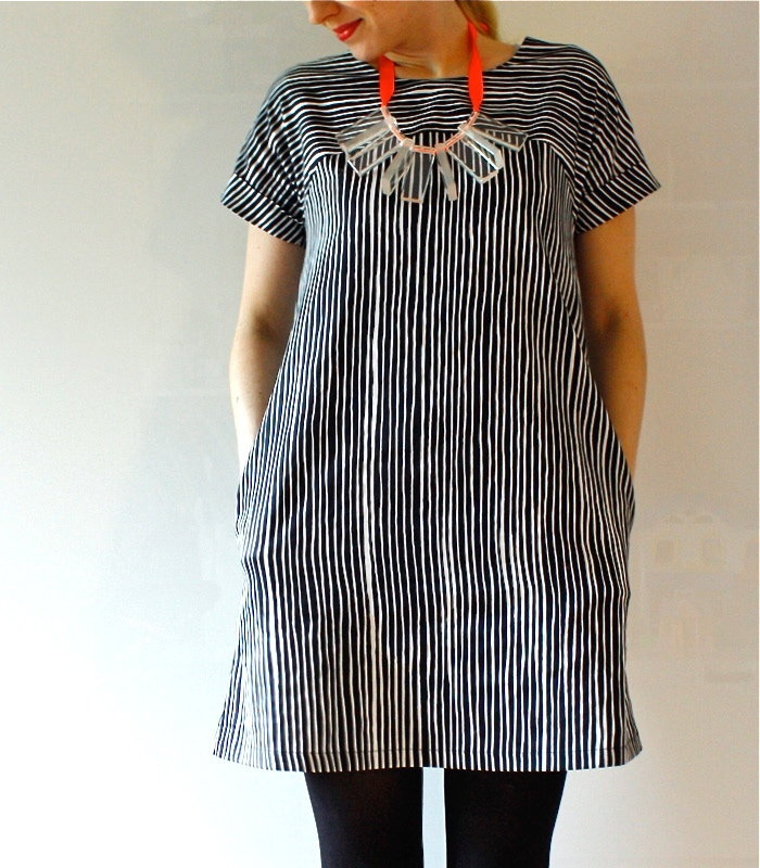 Marimekko dress, Sivellin: love the way the stripes go opposite directions and the pockets.