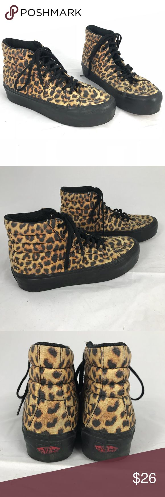 VANS Leopard Hi Top Shoes Cute shoes to pair with jeans or a casual mini dress or skirt! 💜 Size 8 Womens / 6.5 Mens Great overall condition. Minor wrinkling to side rubber shoe which may be how it was manufactured. See photo. Minor wear to laces. Vans Shoes Sneakers