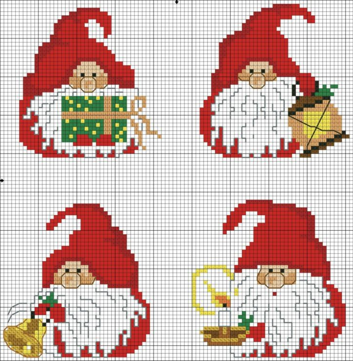 Cross-stitch Christmas Gnomes.. ... no color chart available, just use the pattern chart as your color guide.. or choose your own colors... Gallery.ru / Фото #40 - Брелки, игрушки - elena-555