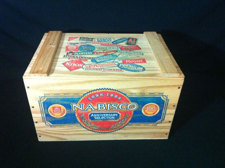 100th anniverersary national biscuit company wood box w/ nabisco products on lid #NationalBiscuitCompany