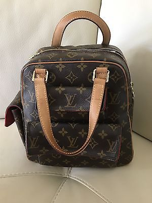 Preowned Authentic Louis Vuitton Handbag Medium Back Pack Royal Red Suede Inside