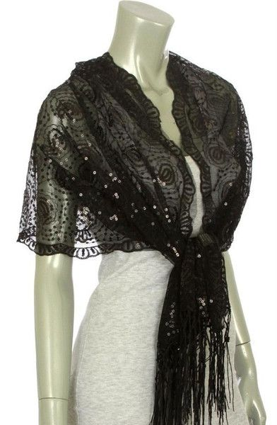Fancy Shawls and Wraps | Black Shawl Wrap Sequin Sheer Paisley Evening Scarf