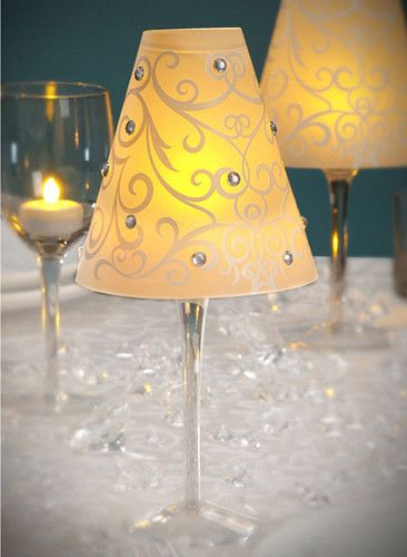 19 best images about vellum shade on pinterest cheap for Wine glass lamp centerpiece